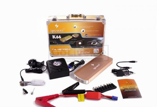 Car Jump Starter Emergency Power Bank [900000mAh] K66 with Compact Tyre Air Compressor Inflator (Built-In LED Flashlight)