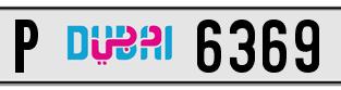 6369 dubai plate
