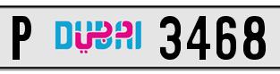 3468 – AED 5,500 dubai plate