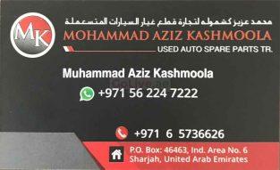MOHAMMAD AZIZ KASHMOOLA USED AUTO SPARE PARTS ( ONLY TUNDRA)