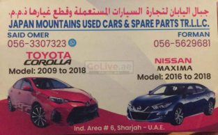 Japan Mountains Used Cars & Spare Parts TR LLC – Only Corolla and Maxima Parts ( Used Auto Parts)