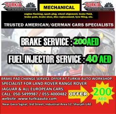 Brake Pad Change Service Offer 200 AED at Turkia Auto Workshop