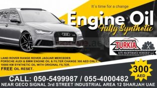 Engine Oil & Filter Change Offer 300 AED at Turkia Auto Workshop.