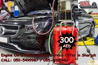 Mercedes Car Engine Oil & Filter Change Service Offer 300 AED at Turkia Auto Workshop Sharjah