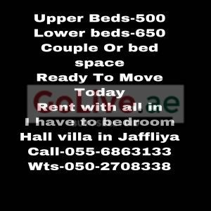 BED SPACE / COUPLE OR FAMILY -2-BEDROOMS HALL VILLA READY FOR RENT IN JAFILIYA DUBAI