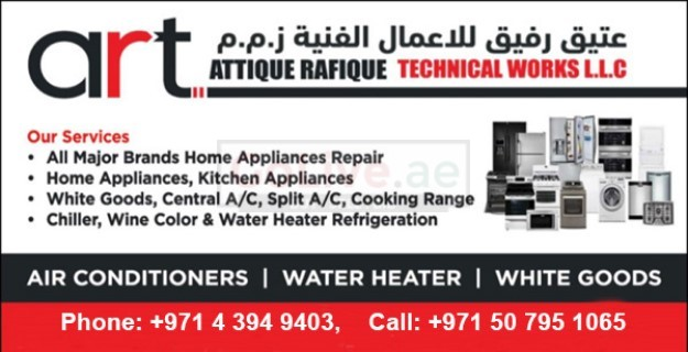 Home Appliances Repairing, Fixing and Maintenance Services. ART Technical Works