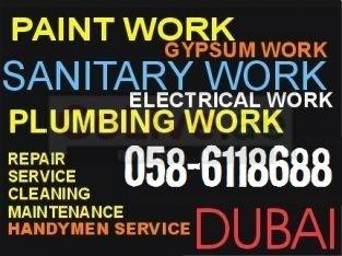 Paint Work , Plumbing Work , Wood Woak in Dubai