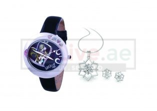 Black Crystal Dial Ladies Watch with Free Jewelry Set