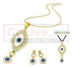 Gold Plated Eye Necklace with Free Black Cord and 1 pair of Earrings