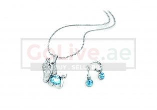Silver Plated Pony Necklace with 1 pair of Earrings