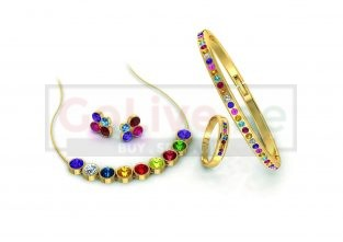 Gold Plated Multicolor Crystal Necklace, Bangle, Ring and 1 pair of Earrings
