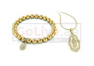 Gold Plated Hamsa Pendant and Bracelet Set