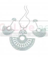 Silver Plated Art Deco Inspired Necklace and Earrings Set