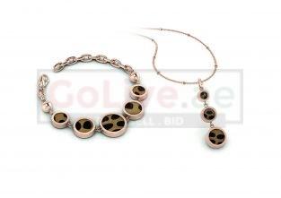 Rose Gold Plated Leopard Design Pendant and Bracelet Set