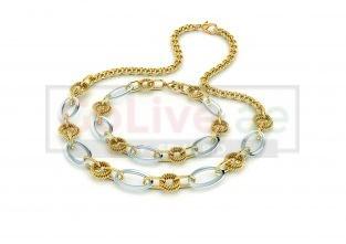Gold/Silver Link Necklace and Bracelet Set