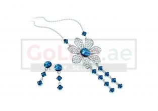 Silver Plated Necklace and Earrings Set with Swarovski elements