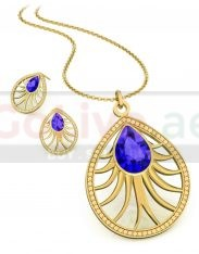 Gold Plated Teardrop Necklace and 1 pair of Earrings
