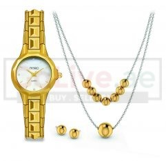 Gold Plated Watch, 2-Layered Necklace and 1 pair of Earrings