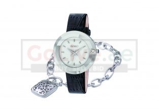 Ladies Black Strap Watch with Silver Plated Padlock Charm Bracelet