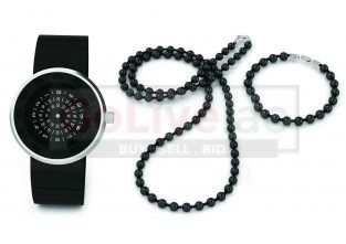 Black Dial Gents Watch with Beaded Necklace and Bracelet