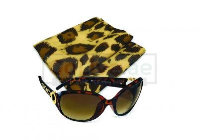 Ladies Sunglasses with Chiffon Leopard-print Scarf