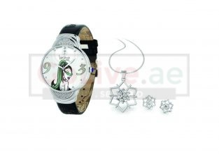 Silver Crystal Dial Ladies Watch with Free Jewelry Set