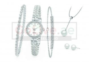 Silver Plated Watch, Bangle, Bracelet, Necklace and 1 pair of Earrings