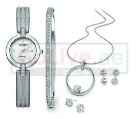 Silver Plated Watch, Bangle, Necklace and 2 pairs of Earrings