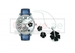 Ladies Leather Strap Watch with Necklace and Earrings Set