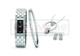 Silver Plated Ladies Watch with Bangle, Necklace and 1 pair of Earrings