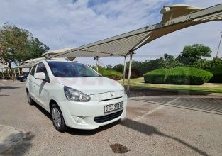 MITSUBISHI MIRAGE GCC 2014 DONE FULLY AUTOMATIC WHITE COLOR FOR SALE