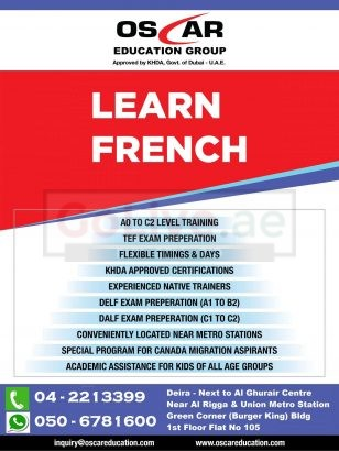 Special Offers on Spoken French Language, DELF, TEF , School Tuitions – 0506781600