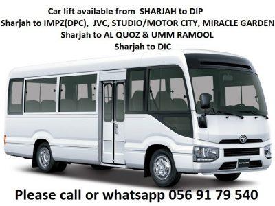 Car lift from Sharjah to DIP IMPZ DPC Motor City Studio Al Quoz