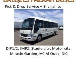 sharjah to DIP IMPZ DPC MOTOR CITY AL QUOZ JVC STUDI0 CITY MIRACLE GARDEN BUSINESS BAY