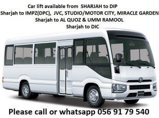 Pick and drop from Sharjah to DIP IMPZ DPC MOTOR CITY AL QUOZ STUDIO CITY DIC JVC MIRACLE GARDEN