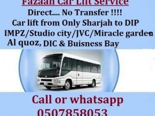 Sharjah to DIP IMPZ DPC AL QUOZ MOTOR CITY STUDIO CITY MIRACLE GARDEN JVC DIC BUSINESS BAY