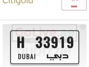 car number 33919 Code H Dubai plate for sale